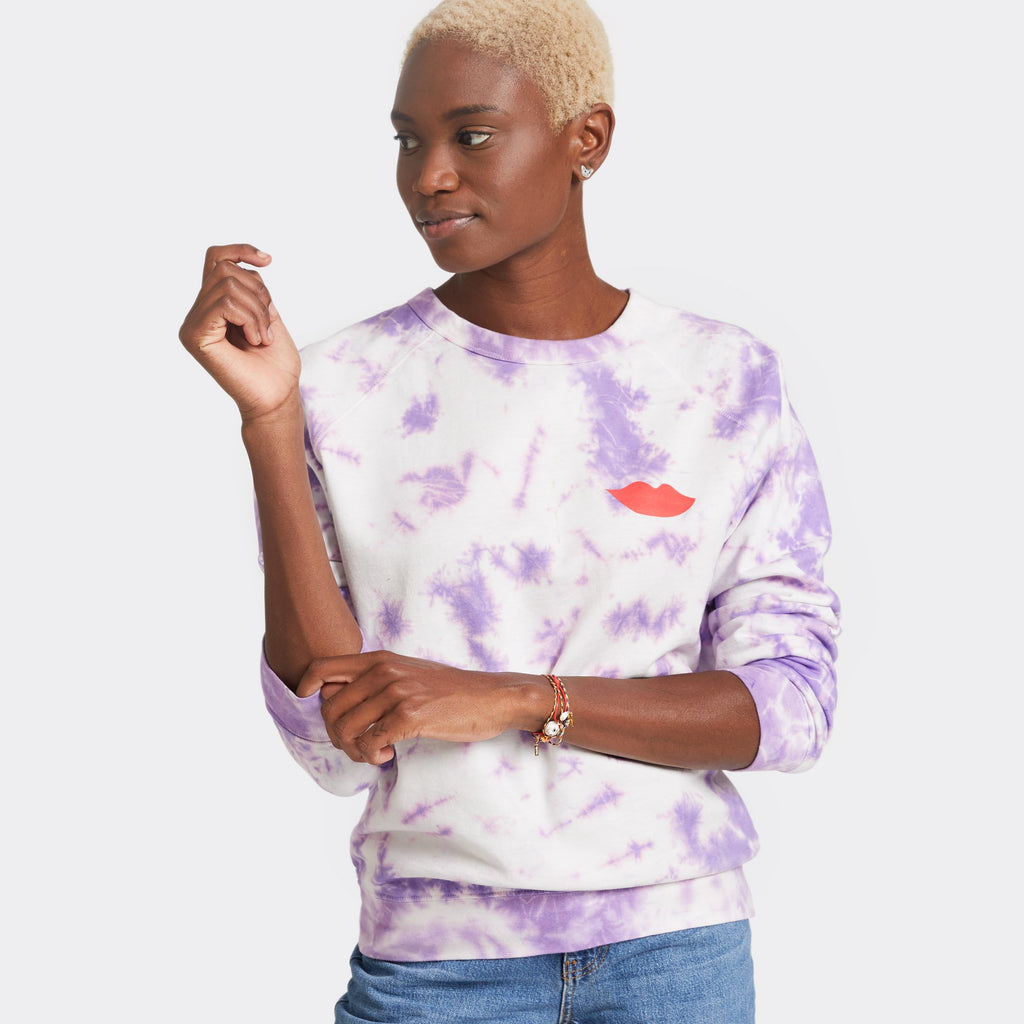 Cloud Tie Dye Sweatshirt in Violet by Clare V