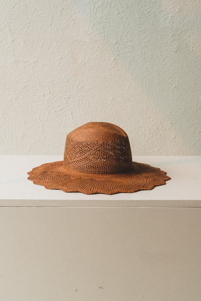 Sakura Hat in Dark Brown Panama Straw by Brookes Boswell