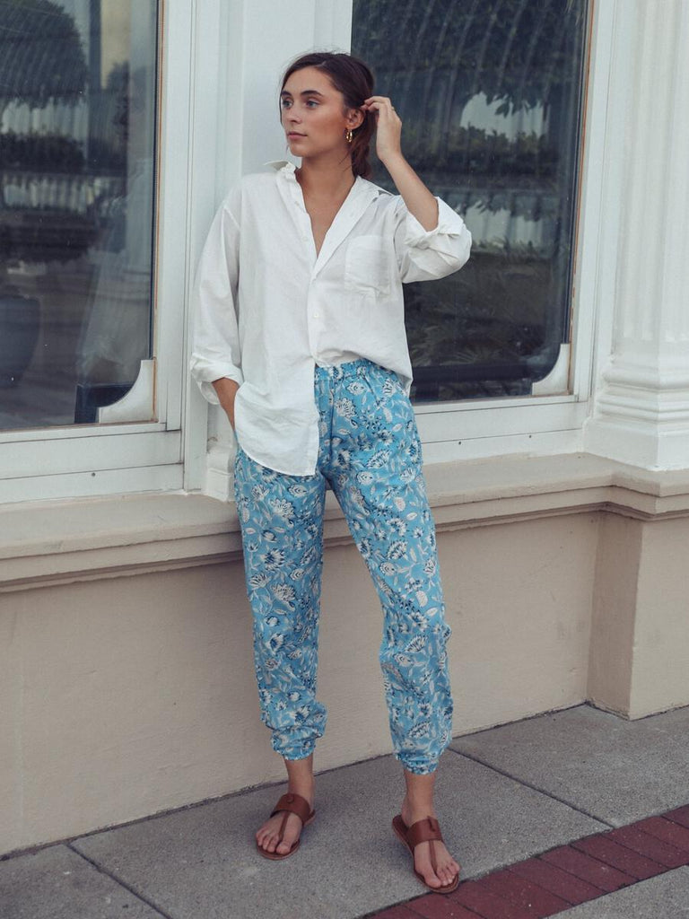 Isla Pants in Blue Carnation by Mille