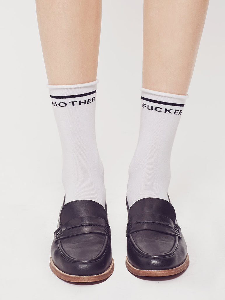 Classy Mother F@$ker Bobby Socks in White by Mother
