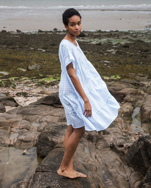 Quila Linen Dress in Blue Gingham by Beaumont Organic