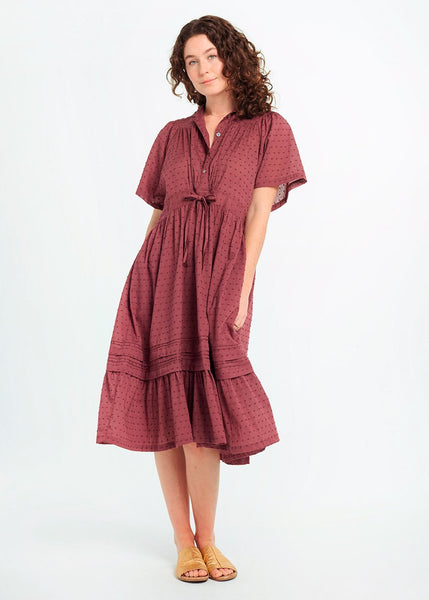 Theresa Swiss Dot Dress in Plum by Matta
