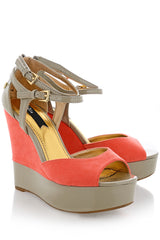 FLORANCE Coral Taupe Strap Wedges