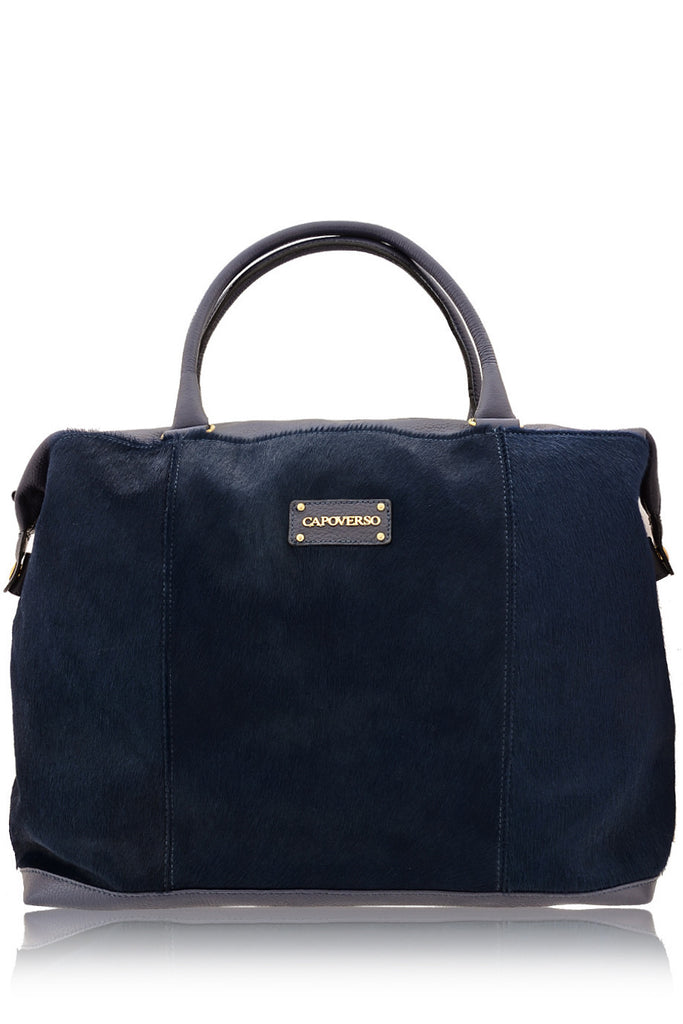 CAVALLINO Blue Pony Hair Leather Grab