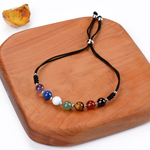 Chakra Bracelet | Adjustable Size Nylon Cord | 6mm Beads with sterling silver Spacers (Gold)