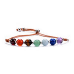 Chakra Bracelet | Adjustable Size Nylon Cord | 6mm Beads with sterling silver Spacers (Brown)