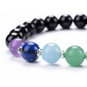 Chakra Stretch Bracelet | 8mm beads with Sterling Silver Spacers (Black Tourmaline)