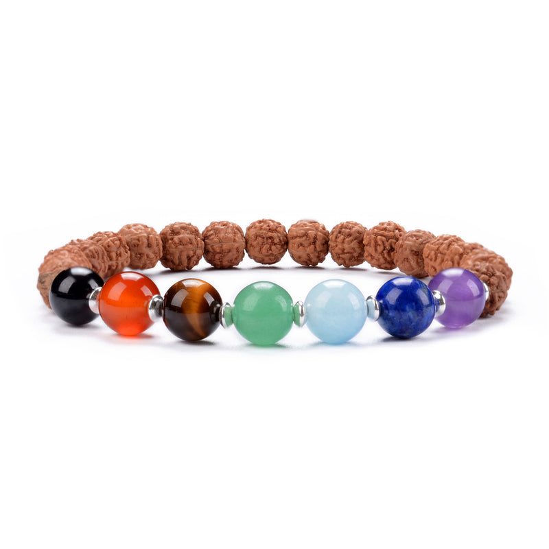 Chakra Stretch Bracelet | 8mm beads with Sterling Silver Spacers (Rudraksha)
