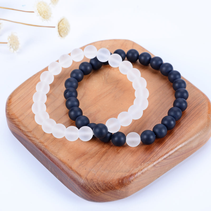 Couples Distance Stretch Bracelets | 8mm Beads (Matte Black Agate and Matte Clear Quartz)