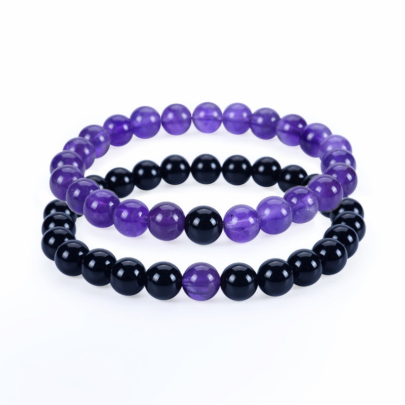 Couples Distance Stretch Bracelets | 8mm Beads (Black Agate and Amethyst)