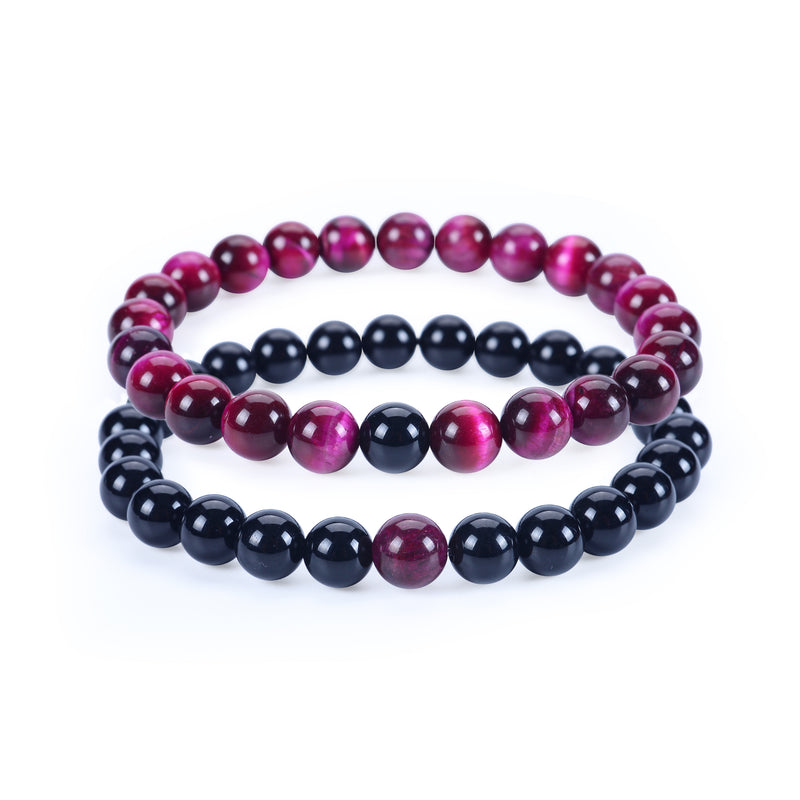 Couples Distance Stretch Bracelets | 8mm Beads (Black Agate and Pink Tiger's Eye)