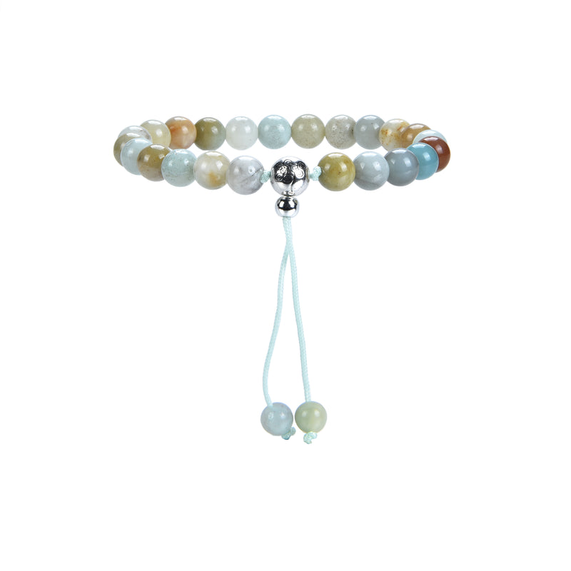 Mala Bracelet | 8mm Beads, Guru Bead, Durable Nylon Cord | Adjustable Length (Amazonite Multi-Color )