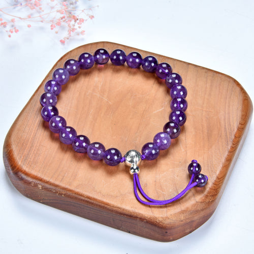 Mala Bracelet | 8mm Beads, Guru Bead, Durable Nylon Cord | Adjustable Length (Amethyst )