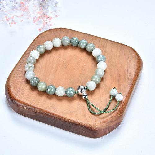 Mala Bracelet | 8mm Beads, Guru Bead, Durable Nylon Cord | Adjustable Length (Burma Jade )