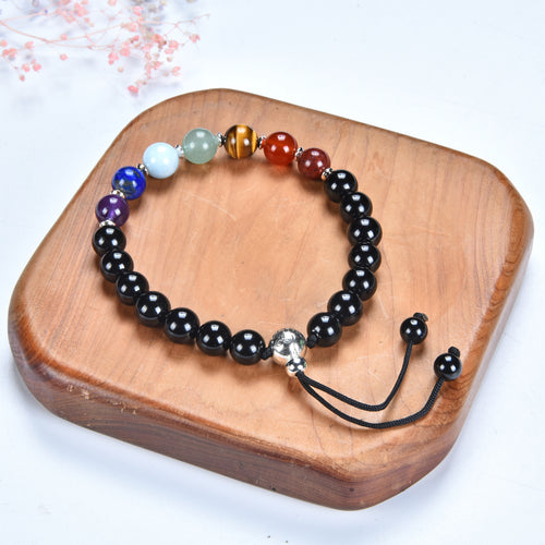 Mala Bracelet | 8mm Beads, Guru Bead, Durable Nylon Cord | Adjustable Length (Chakra - Black Tourmaline )