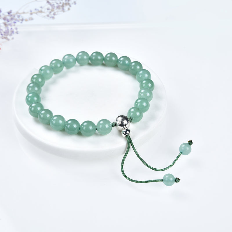 Mala Bracelet | 8mm Beads, Guru Bead, Durable Nylon Cord | Adjustable Length (Green Aventurine )