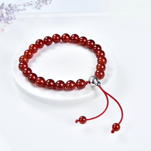 Mala Bracelet | 8mm Beads, Guru Bead, Durable Nylon Cord | Adjustable Length (Deep Orange - Red Agate )