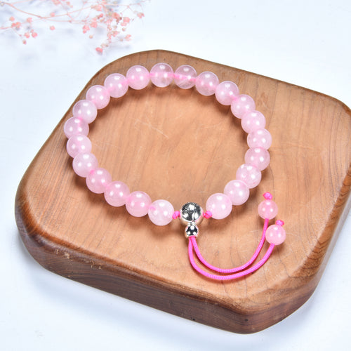Mala Bracelet | 8mm Beads, Guru Bead, Durable Nylon Cord | Adjustable Length (Rose Quartz )