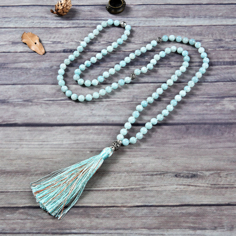 Mala Necklace | 108 Hand-Knotted 8mm Round Beads (Amazonite)