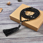 Mala Necklace | 108 Hand-Knotted 8mm Round Beads (Black Tourmaline)