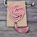Mala Necklace | 108 Hand-Knotted 8mm Round Beads (Rose Quartz)