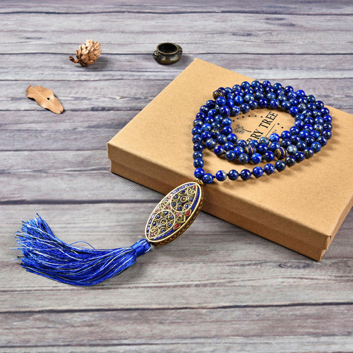 Mala Necklace | 108 Hand-Knotted 8mm Round Beads (Tibetan Lapis)