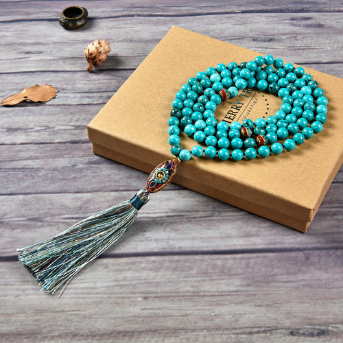 Mala Necklace | 108 Hand-Knotted 8mm Round Beads (Tibetan Turquoise Howlite)