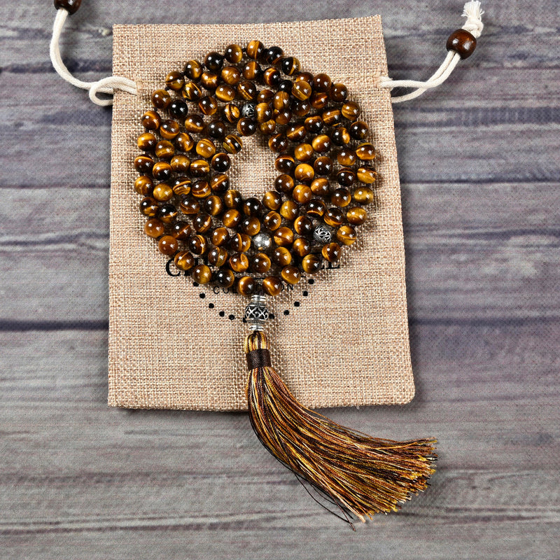 Mala Necklace | 108 Hand-Knotted 8mm Round Beads (Tiger's Eye)