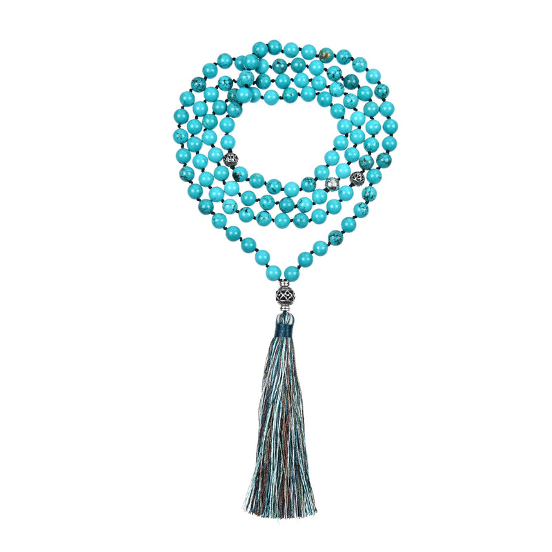 Mala Necklace | 108 Hand-Knotted 8mm Round Beads (Turquoise Howlite)