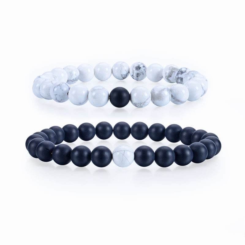 Couples Distance Stretch Bracelets | 8mm Beads (Matte Black Agate and White Howlite)