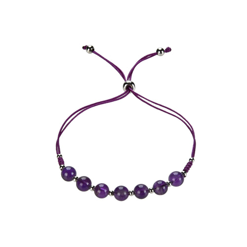 Gemstone Bracelet | Adjustable Size Nylon Cord | 6mm Beads with sterling silver Spacers (Amethyst)