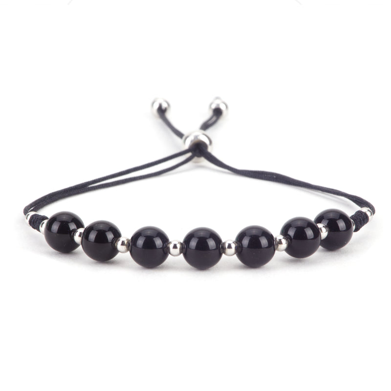 Gemstone Bracelet | Adjustable Size Nylon Cord | 6mm Beads with sterling silver Spacers (Black Tourmaline)