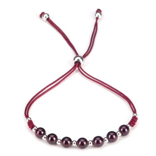 Gemstone Bracelet | Adjustable Size Nylon Cord | 5mm Beads with sterling silver Spacers (Garnet)