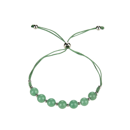 Gemstone Bracelet | Adjustable Size Nylon Cord | 6mm Beads with sterling silver Spacers (Green Aventurine)