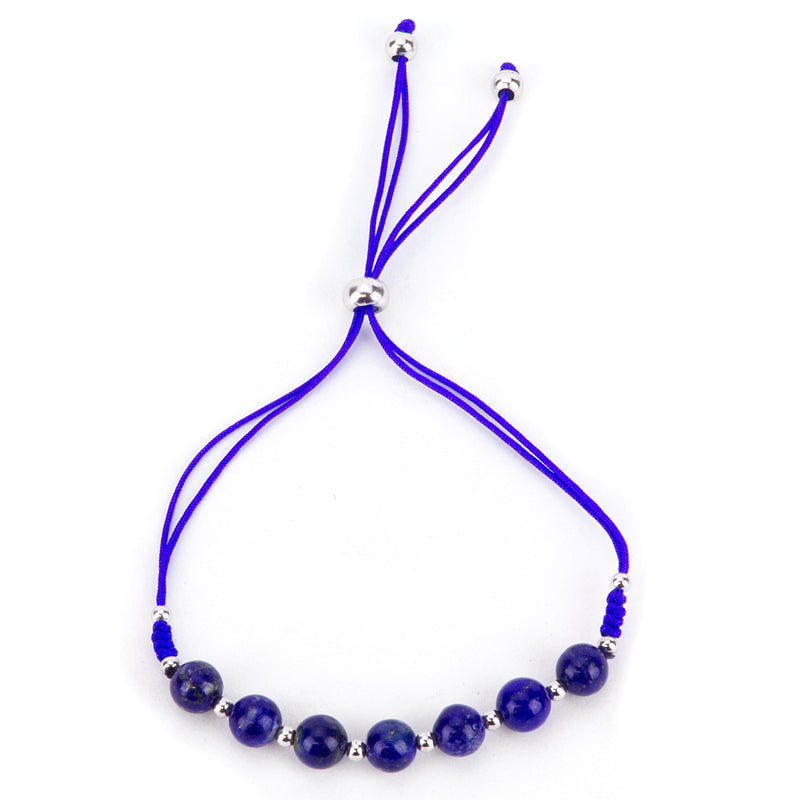 Gemstone Bracelet | Adjustable Size Nylon Cord | 6mm Beads with sterling silver Spacers (Lapis)