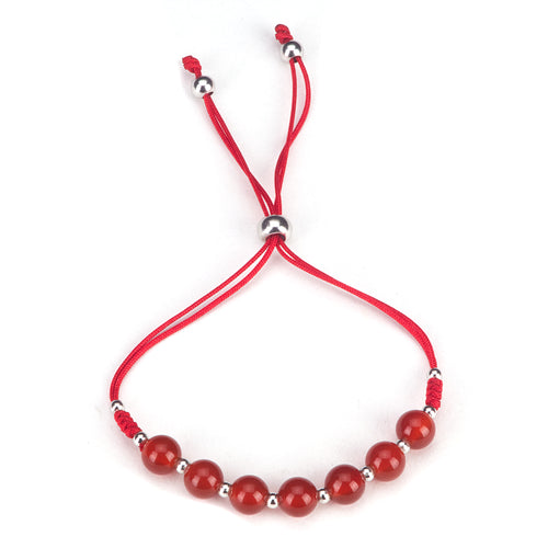 Gemstone Bracelet | Adjustable Size Nylon Cord | 6mm Beads with sterling silver Spacers (Deep Orange - Red Agate)