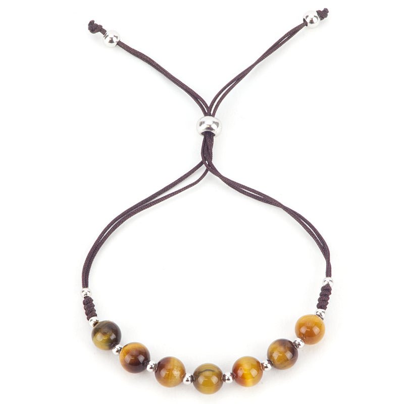 Gemstone Bracelet | Adjustable Size Nylon Cord | 6mm Beads with sterling silver Spacers (Tiger's Eye)