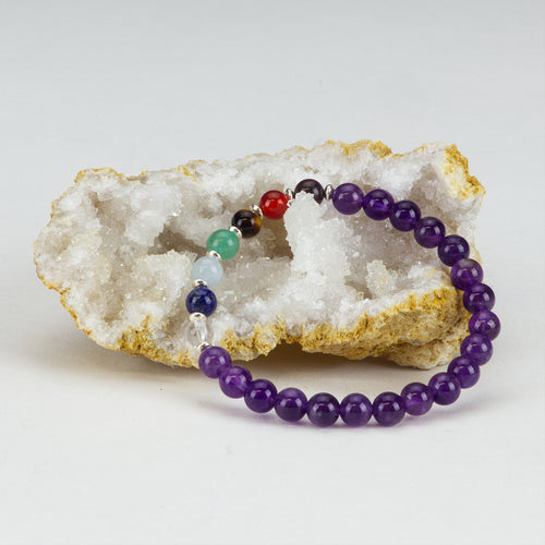 Chakra Stretch Bracelet | 6mm Beads, Sterling Silver Spacers | Men/Women (Amethyst)