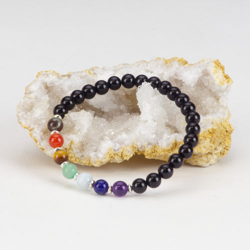 Chakra Stretch Bracelet | 6mm Beads, Sterling Silver Spacers | Men/Women (Black Tourmaline)