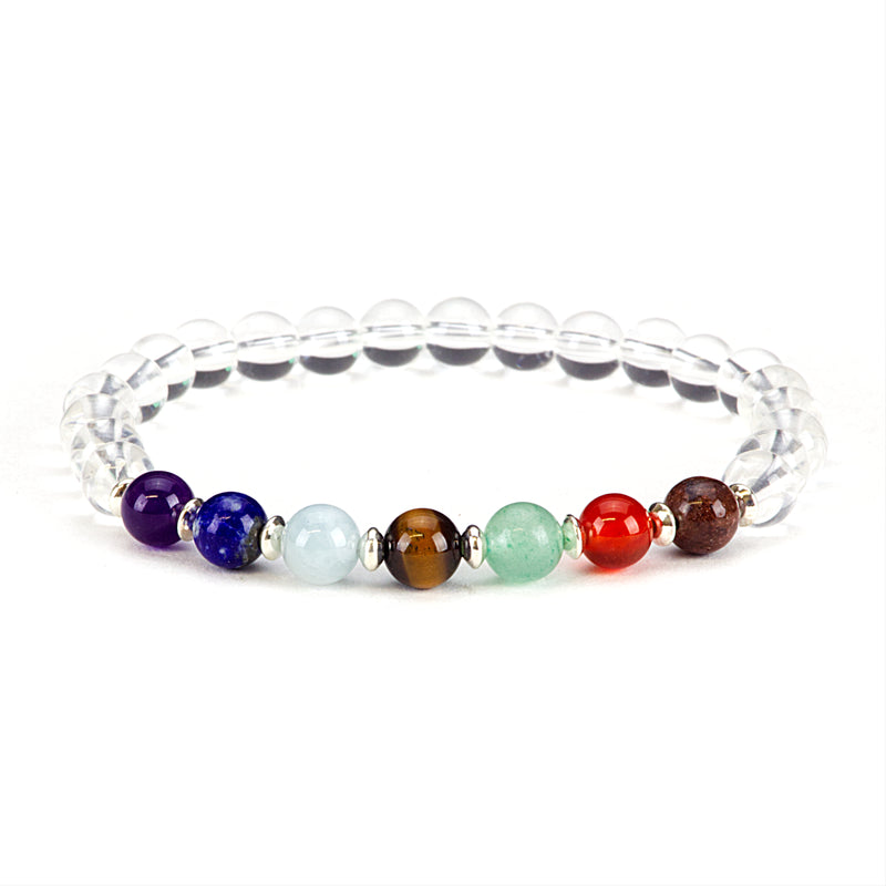 Chakra Stretch Bracelet | 6mm Beads, Sterling Silver Spacers | Men/Women (Clear Quartz)