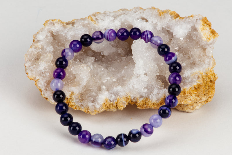 Stretch Bracelet | 6mm Beads (Lace Agate Purple)