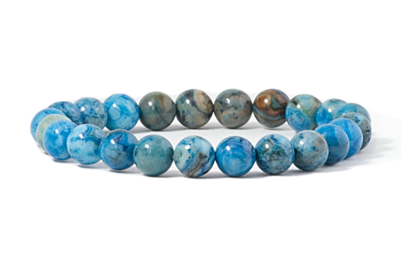 Stretch Bracelet | 8mm Beads (Blue Crazy Lace Agate)