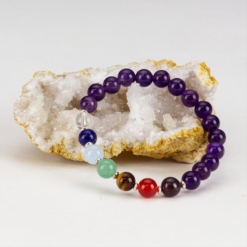 Chakra Stretch Bracelet | 8mm beads with Sterling Silver Spacers (Amethyst)