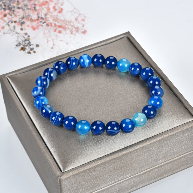 Stretch Bracelet | 8mm Beads (Lace Agate - Blue)