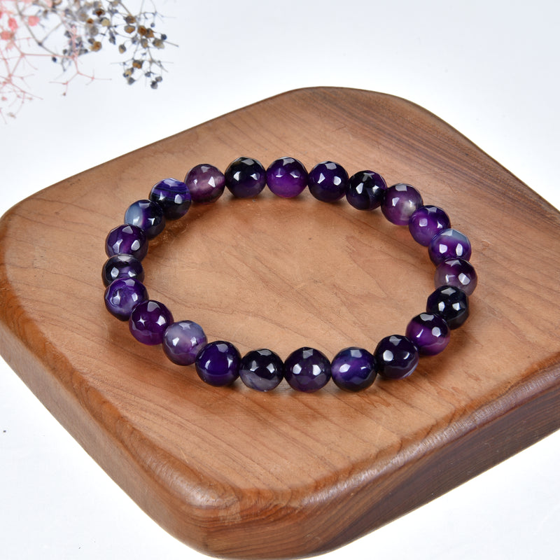 Stretch Bracelet | 8mm Beads (Purple Faceted Agate)