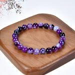 Stretch Bracelet | 8mm Beads (Lace Agate - Purple)