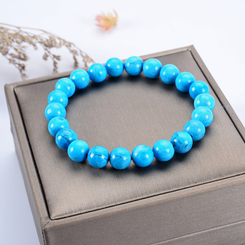 Stretch Bracelet | 8mm Beads (Turquoise Howlite - Blue)
