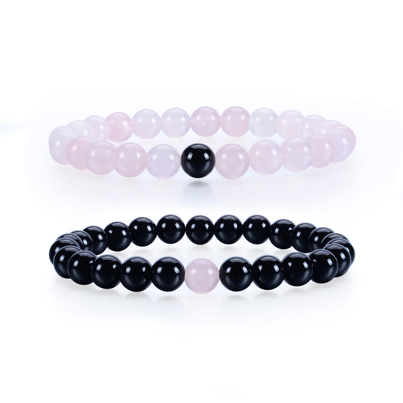 Couples Distance Stretch Bracelets | 8mm Beads (Black Agate and Rose Quartz)