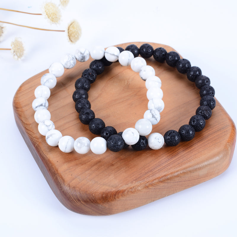 Couples Distance Stretch Bracelets | 8mm Beads (Lava and White Howlite)