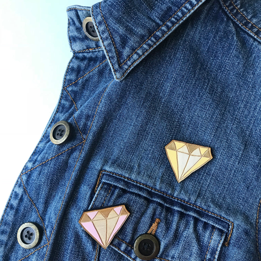 Diamond Wood Brooch Pin | 2 Styles